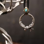 """Argent Gream×Mr.CASANOVA """"SWALLOW GLASS HOLDER NECKLACE"""" / Silver×Brass / Turquoise"""